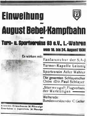 Plakat zur Einweihung der August-Bebel-Kampfbahn 1930